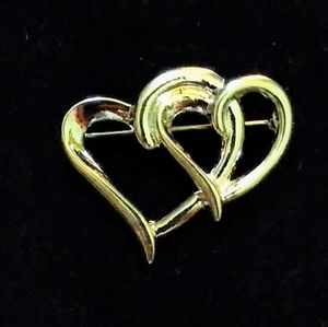 Toni Jewelry - Double heart silver tone brooch/pin